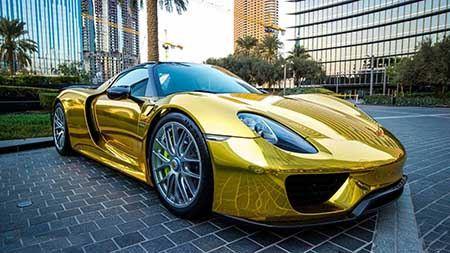 پورشه با روکش طلا , عروس خودروهای جهان شد!! تصاویر