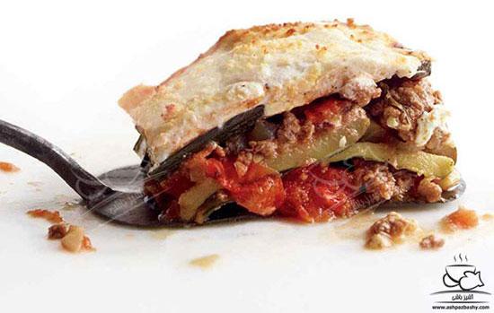 لازانیای کدو با گوجه فرنگی و گوشت