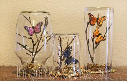 ساخت کاردستی شیشه تزیینی چوب و پروانه  تصاویر