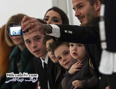 عکس یادگاری بکهام و فرزندانش در فشن شو