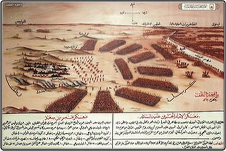 آرایش جنگی یاران امام حسین(ع) و سپاه دشمن در روز عاشورا  تصویر