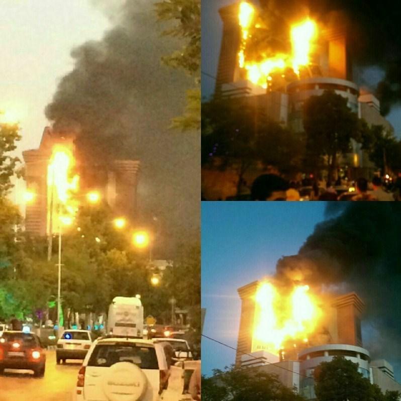 برج 17 طبقه سلمان مشهد دچار آتشسوزی شد