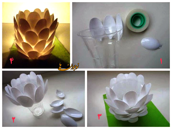 ساخت کاردستی شمعدان به شکل میوه کاج  تصاویر