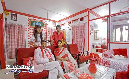 نتیجه علاقه یک مرد هندی به عدد 7 و رنگ قرمز و سفید