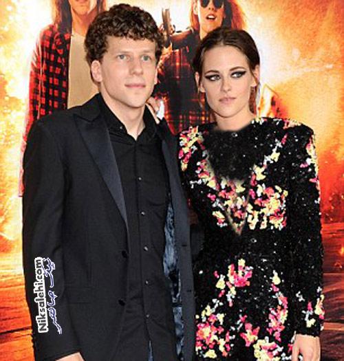کریستین استوارت در کنار همکار بازیگرش در فیلم گرگ و میش