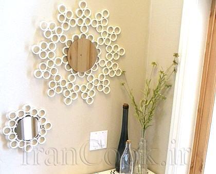 ساخت کاردستی قاب آینه حلقه ای  تصاویر