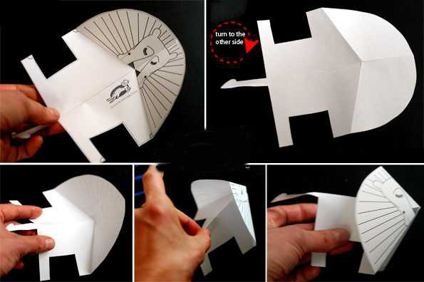آموزش ساخت کاردستی شیر کاغذی بسیار ساده و جالب تصاویر