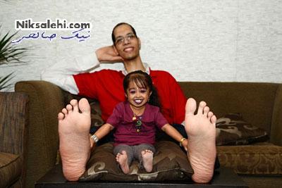 ملاقات دیدنی کوچکترین زن دنیا با بزرگترین مرد دنیا