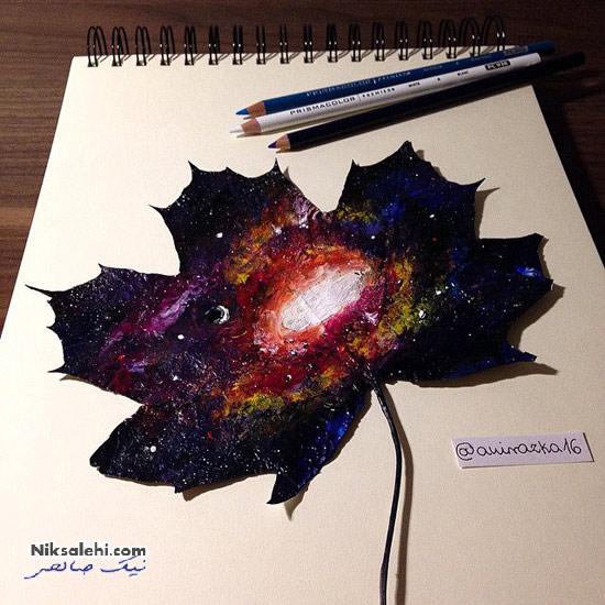 نقاشی های زیبای هنرمند خود آموز روی برگ های خزان