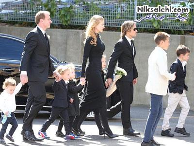 نیکول کیدمن و خانواده اش در مراسم خاکسپاری پدرش