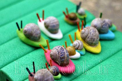 ساخت کاردستی حلزون با خمیر بازی  تصاویر