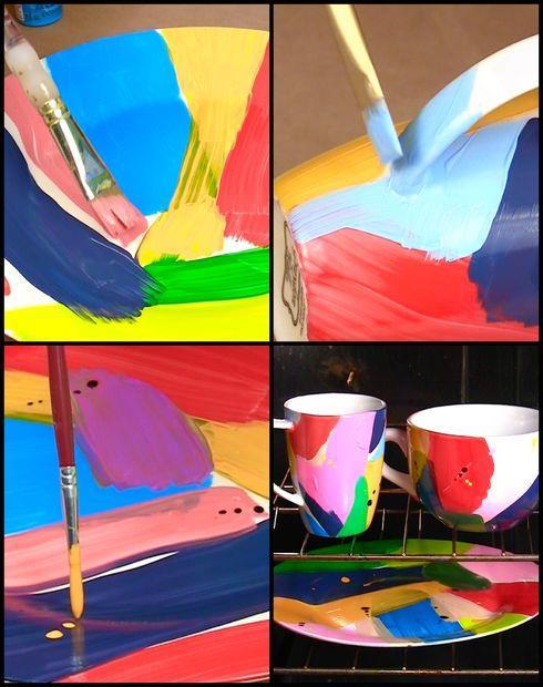 بشقاب های نقاشی شده با طرح های انتزاعی  تصاویر