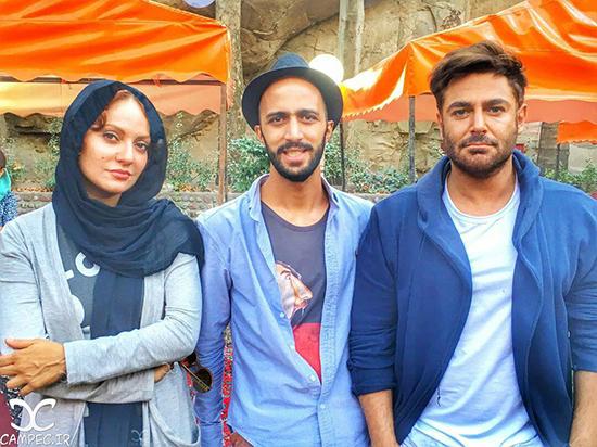 محمدرضا گلزار و مهناز افشار در پشت صحنه سریال عاشقانه