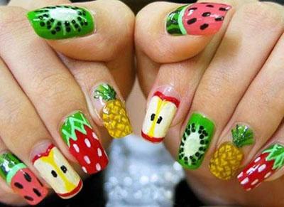تصاویر طراحی ناخن با میوه های تابستانی