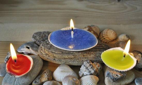 آموزش ساخت شمع بسیار زیبا با صدف  تصاویر