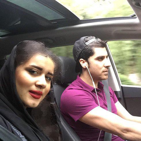 شهرام محمودی و همسرش در جاده چالوس