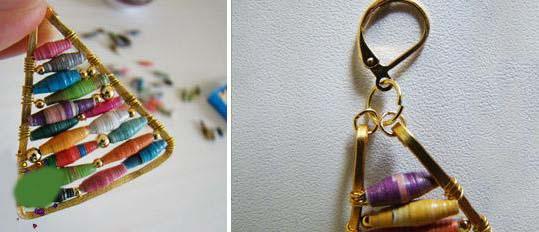 آموزش ساخت گوشواره بسیار زیبا و جذاب با مهره رنگی تصاویر