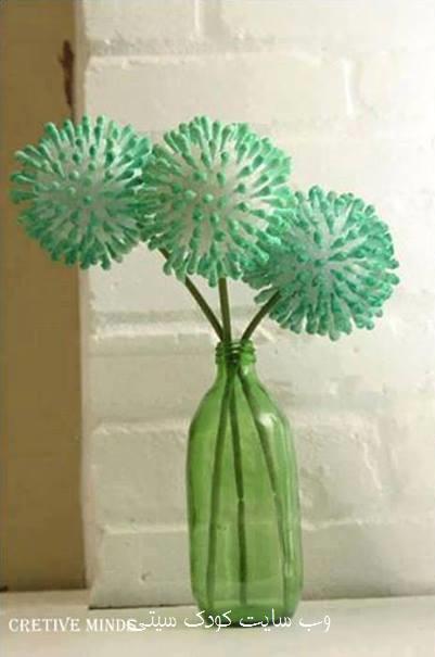 ساخت کاردستی گل ساده با گوش پاک کن تصاویر