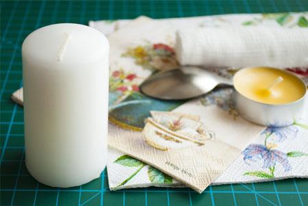 آموزش دکوپاژ و زیبا سازی شمع های ساده برای هفت سین
