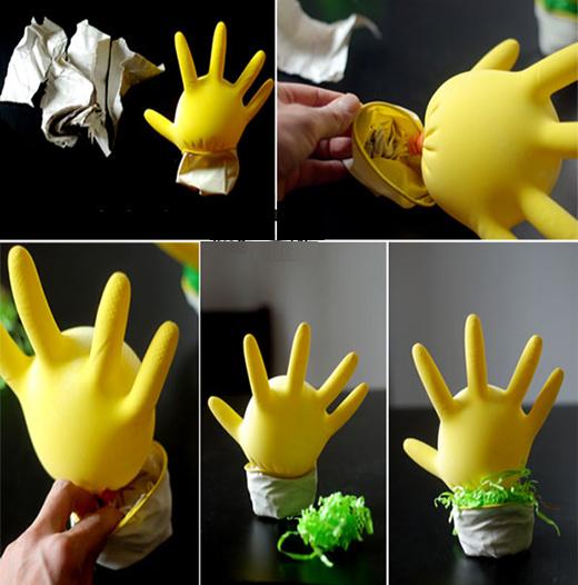 ساخت عروسک با دستکش پلاستیکی بسیار آسان تصاویر