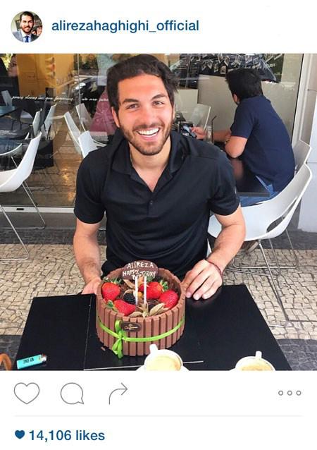 کیک تولد علیرضا حقیقی و همراهی با دروازه بان افسانه ای پرتغال! تصاویر