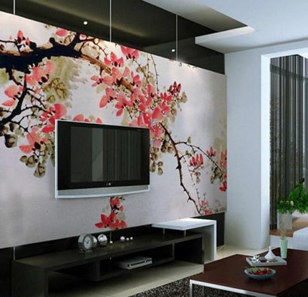 دیوار پشت تلویزیون را آماده نوروز کنید با ایده هایی بسیار ساده و شیک تصاویر