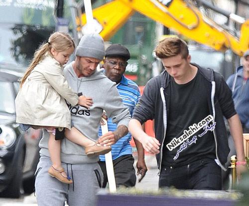 دیوید بکهام پس از صرف ناهار به همراه دختر و پسرش
