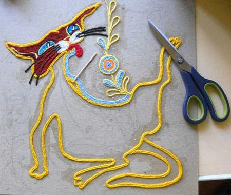 نحوه ساخت تابلو با کاموا ! تصاویر