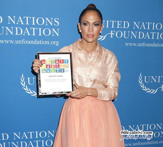 جنیفر لوپز و نامزد جوانش در مراسم سازمان ملل متحد