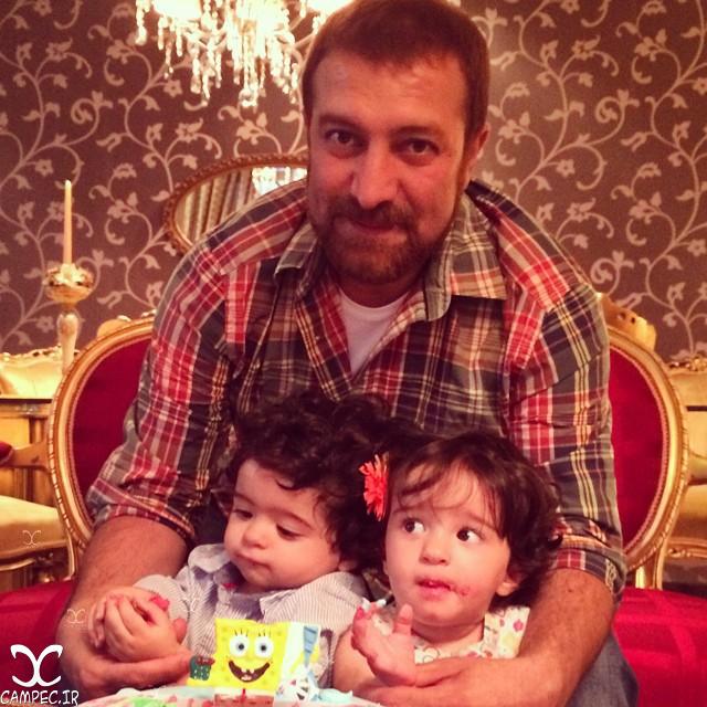 عکس های دیدنی مجید صالحی با فرزندان دوقلوش آروین و حنا