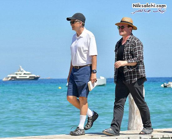 تیپ مالک مایکروسافت بیل گیتس و همسرش در کنار دریا