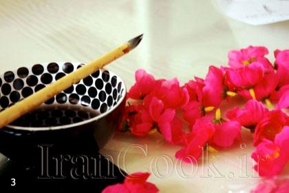 ساخت کاردستی و تزیین لوستر کاغذی مدل شکوفه گیلاس  تصاویر