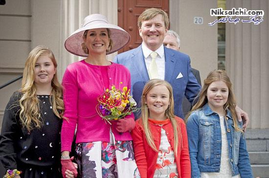 تیپ شاد ملکه هلند و دخترانش در یک جشن ملی