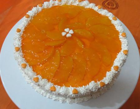 تزیین کیک اسفنجی با میوه و ژله تصاویر