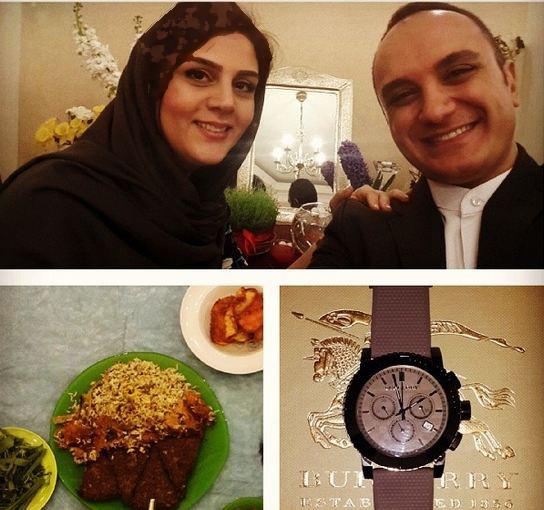 احسان کرمی مجری تلویزیون و همسرش تصاویر