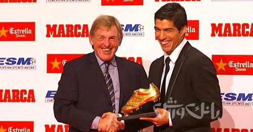 سوارز و همسرش در مراسم اهدای کفش طلای اروپا