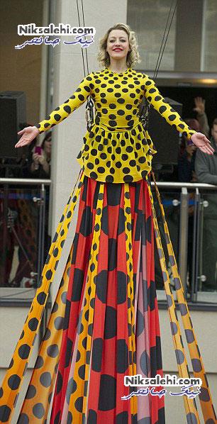 بلندترین لباس جهان بر تن مدل بندباز مشهور