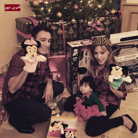 کریسمس شادمهر عقیلی در کنار همسر و دخترش عکس