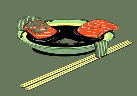 کاریکاتور بامزه جانبخشی به غذاها در آثار «چو هو لام»