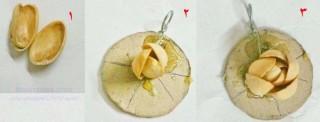 ساخت نیم ست گوشواره و گردنبند با پوست پسته  تصاویر