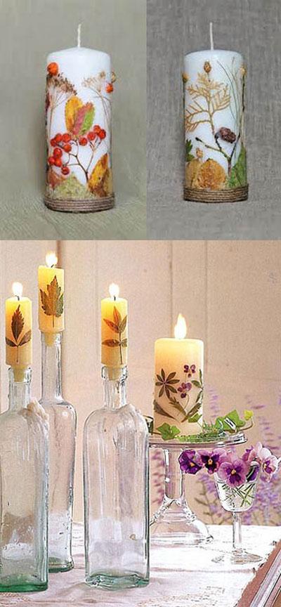 نحوه تزیین شمع هفت سین با برگ های پاییزی عکس