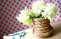 آموزش ساخت گلدان تزیینی بسیار زیبا با طناب تصاویر