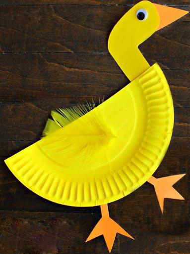 ساخت کاردستی اردک با بشقاب یکبار مصرف  تصاویر