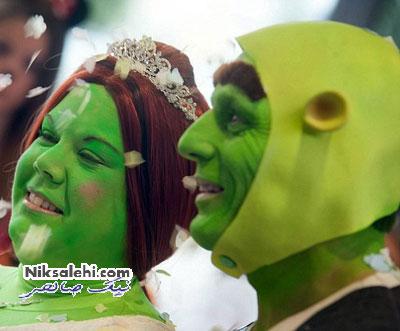 زوجی که به سبک غول های خیالی ازدواج کردند