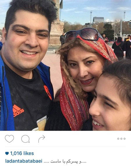 لادن طباطبایی و فرزندانش در خارج از کشور تصاویر