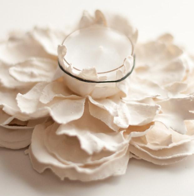 آموزش ساخت جاشمعی های گچی با گل مصنوعی
