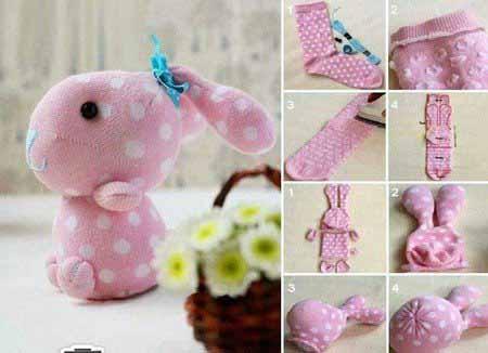 آموزش ساخت خرگوش زیبا با جوراب تصاویر