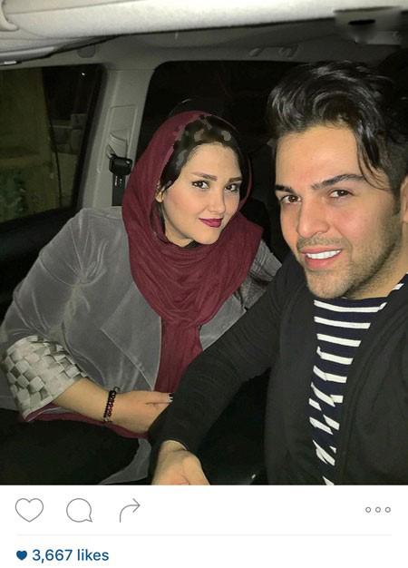 عماد طالب زاده خواننده پاپ و همسرش عکس