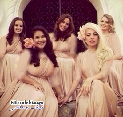 لیدی گاگا در لباس ساقدوشی در عروسی دوستش