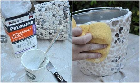 آموزش تزیین گلدان با سنگ های کوچک